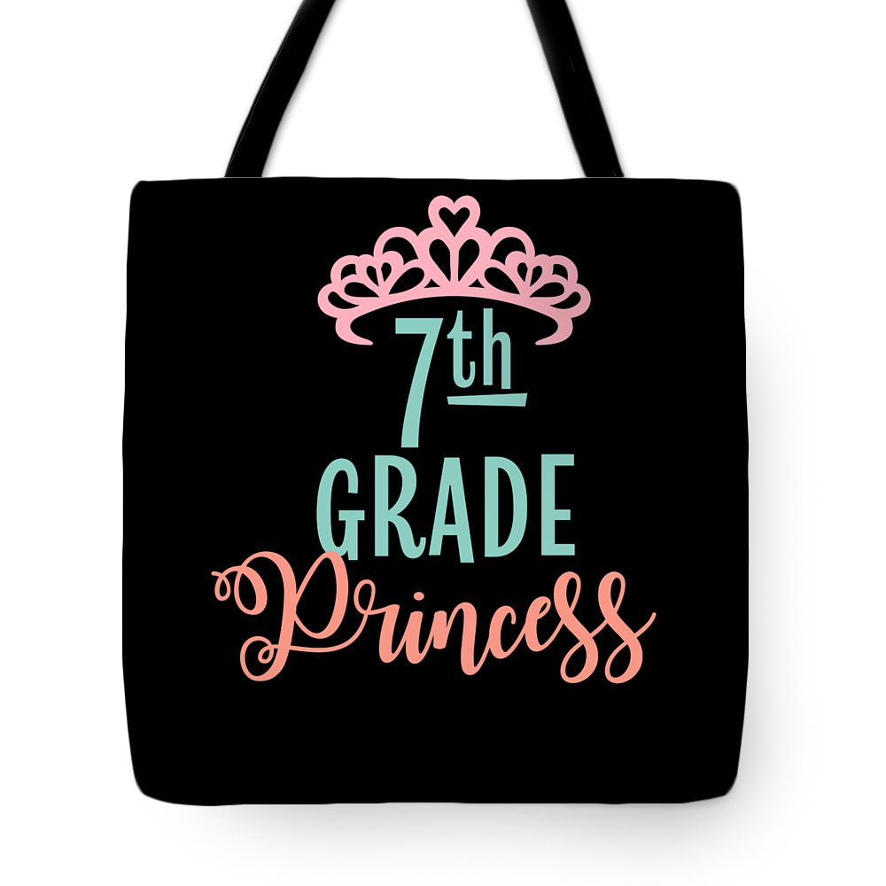 Gift Tote Bag featuring the drawing 7th Grade Princess Adorable For Daughter Pink Tiara Princess by Cameron Fulton