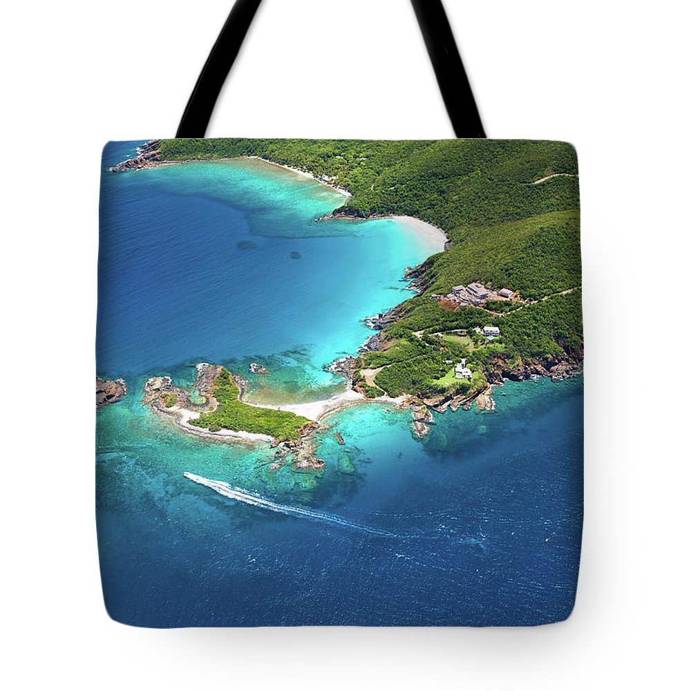 Water's Edge Tote Bag featuring the photograph Aerial Shot Of West End, St. Thomas, Us by Cdwheatley