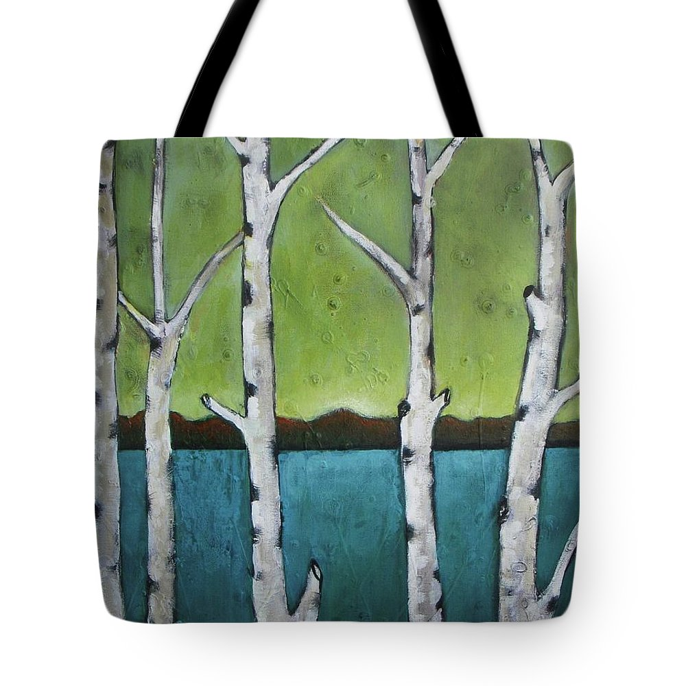 Aspen Tote Bag featuring the photograph Aspen Trees On The Lake by Vesna Antic