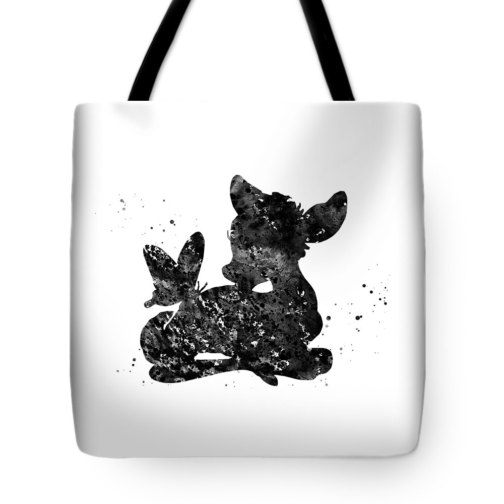 Little Bambi With A Butterfly Tote Bag featuring the digital art Bambi by Erzebet S