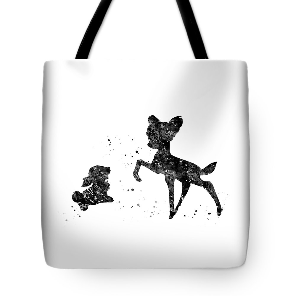 Bambi With Thumper Tote Bag featuring the digital art Bambi With Thumper by Erzebet S