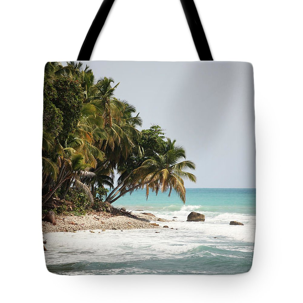 Tropical Tree Tote Bag featuring the photograph Beach In Haiti by 1001nights