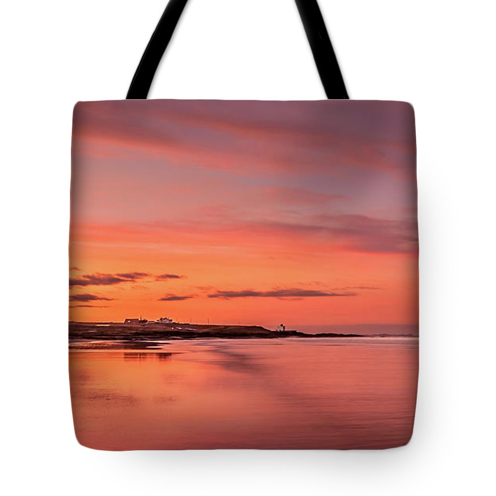 Bamburgh Beach Tote Bag featuring the photograph Beautiful Bamburgh Beach Sunset by Naylors Photography