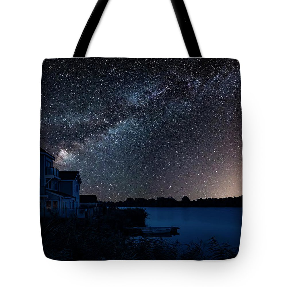 Landscape Tote Bag featuring the photograph Beautiful Night Sky Astrophotography Landscape Image Of Milky Wa by Matthew Gibson