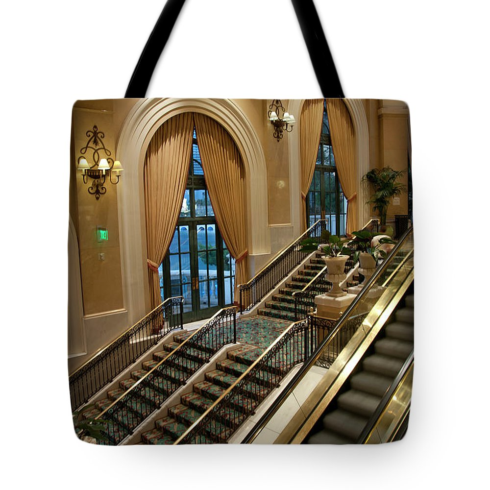 Arch Tote Bag featuring the photograph Bellagio Interior by Mitch Diamond