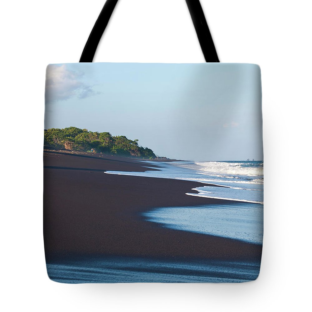 Long Tote Bag featuring the photograph Black Sand Beach by Davorlovincic
