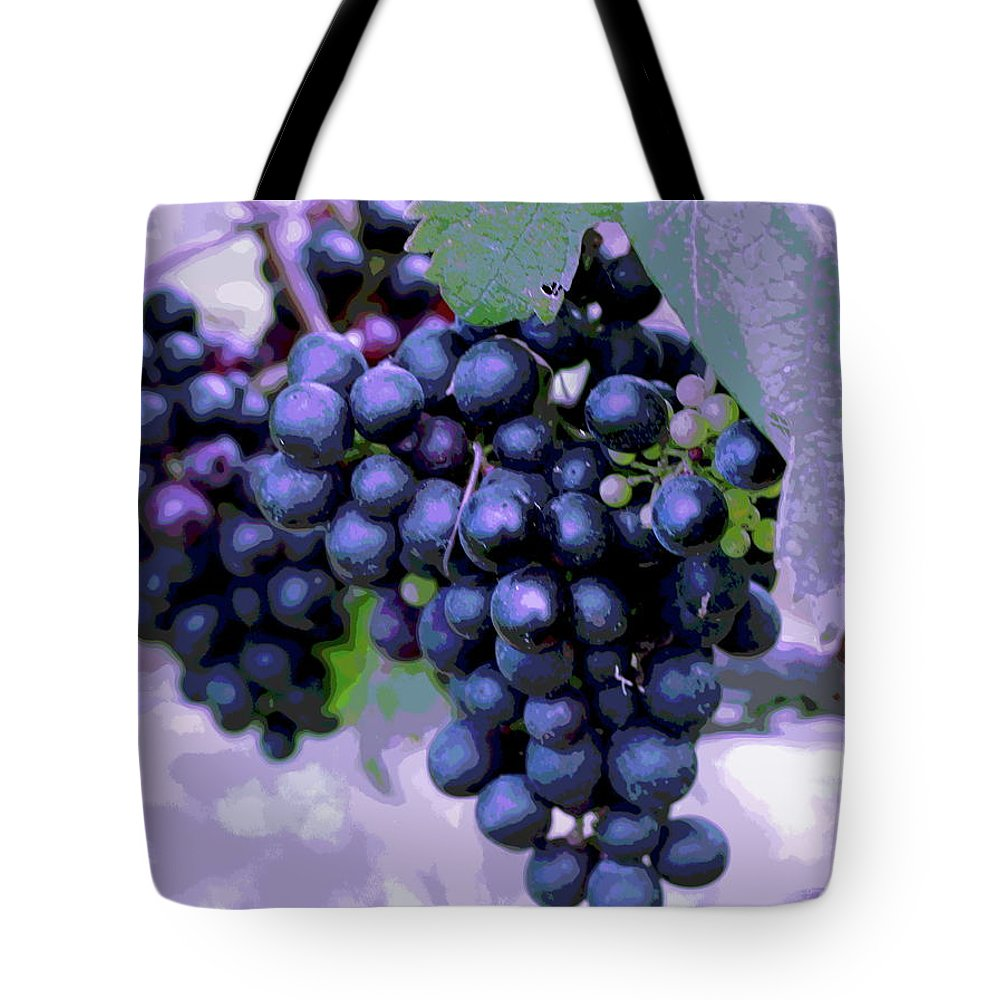 Vineyard Tote Bag featuring the photograph Blue Grape Bunches 7 by Cathy Lindsey