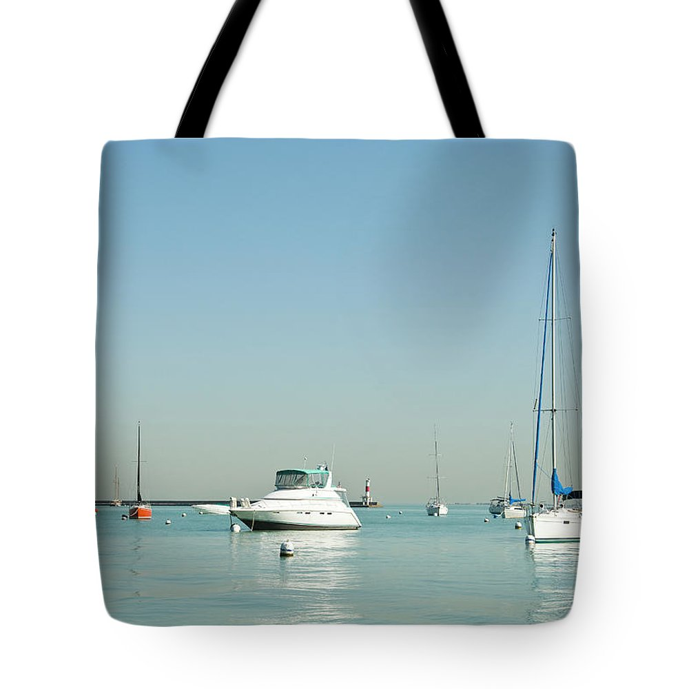 Billabong Tote Bag featuring the photograph Boats On Lake Michigan by Weible1980