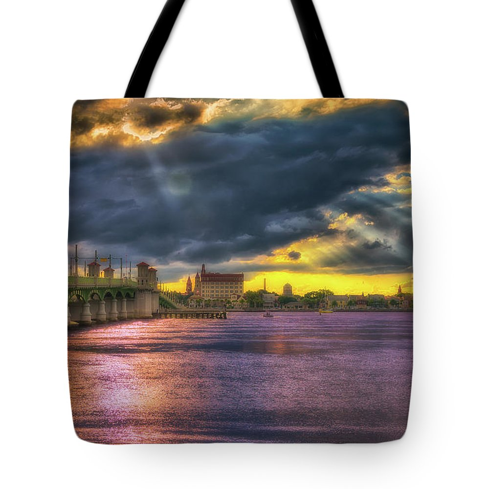 St. Augustine Tote Bag featuring the photograph Bridge Of Lions Sunset by Joseph Desiderio