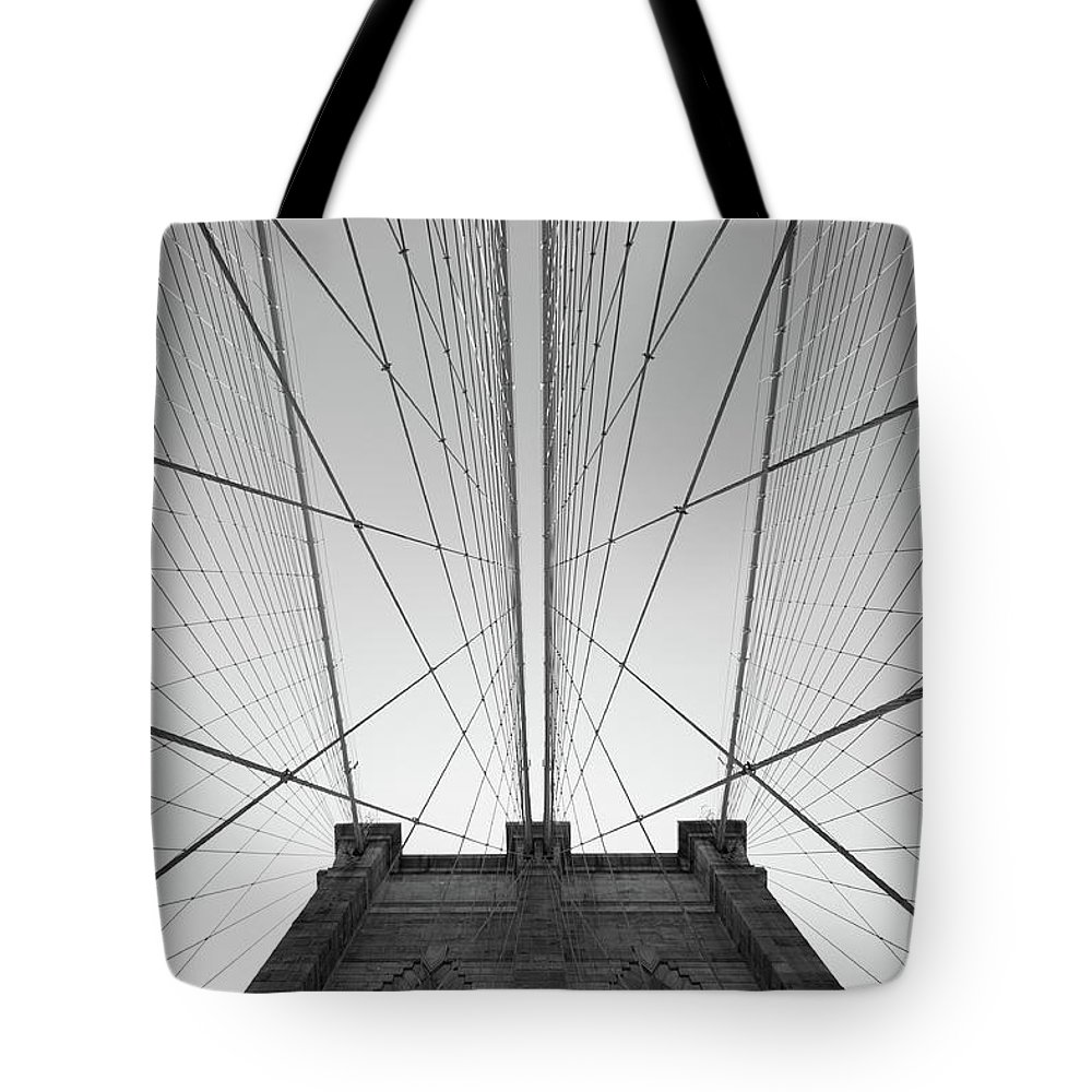 Arch Tote Bag featuring the photograph Brooklyn Bridge by Jimschemel