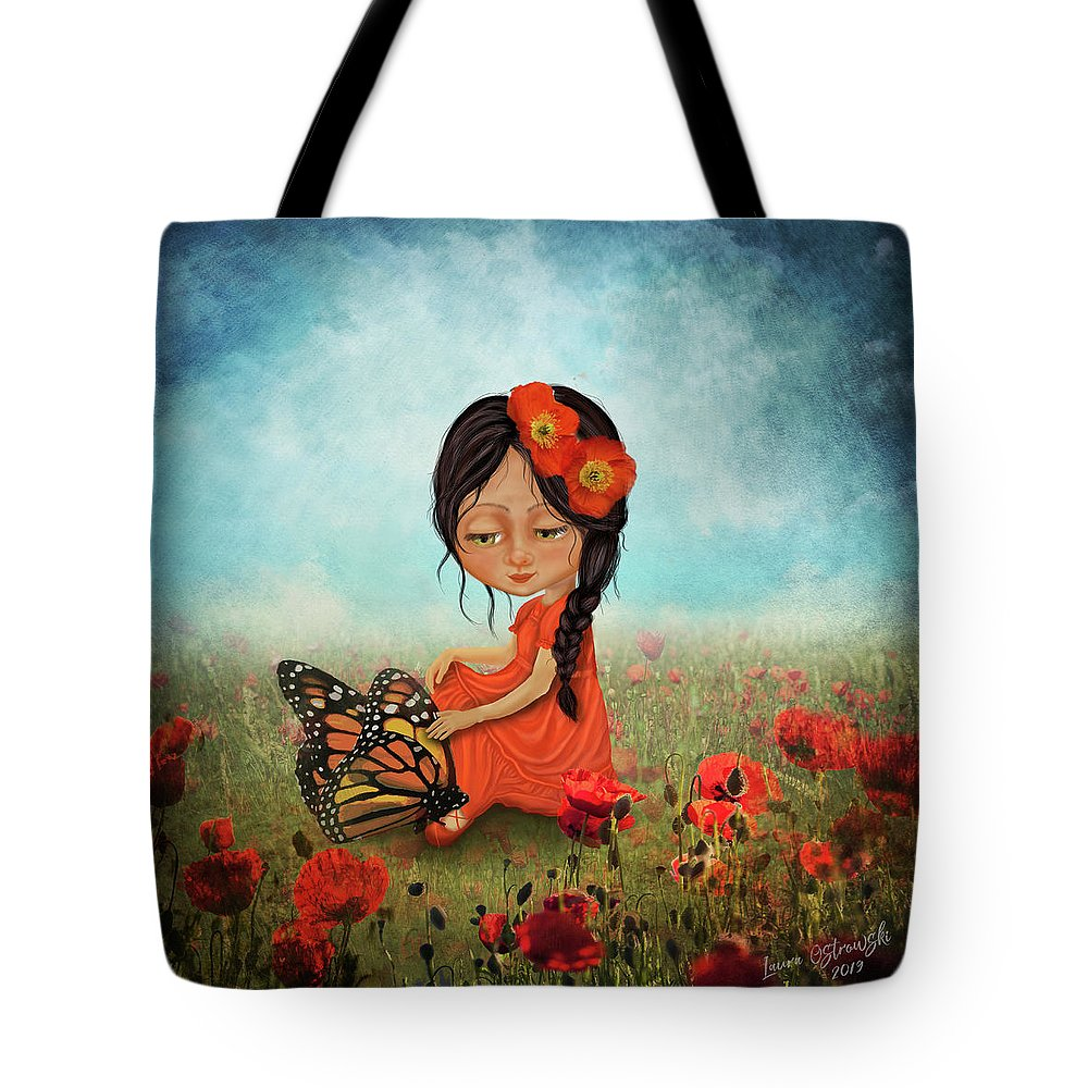 Butterfly Whisperer Tote Bag featuring the digital art Butterfly Whisperer by Laura Ostrowski