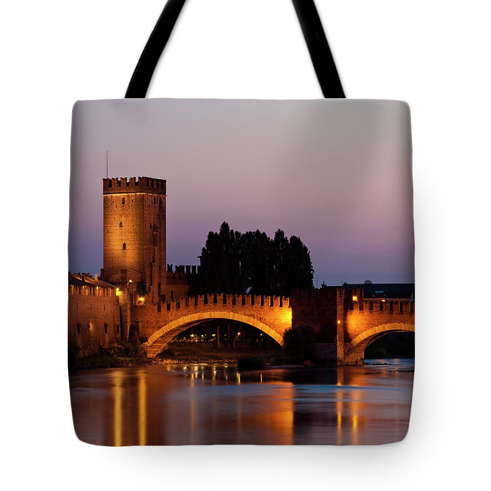 "Built Structure Tote Bag featuring the photograph Castelvecchio Or &quotold Castle"" by Holgs"