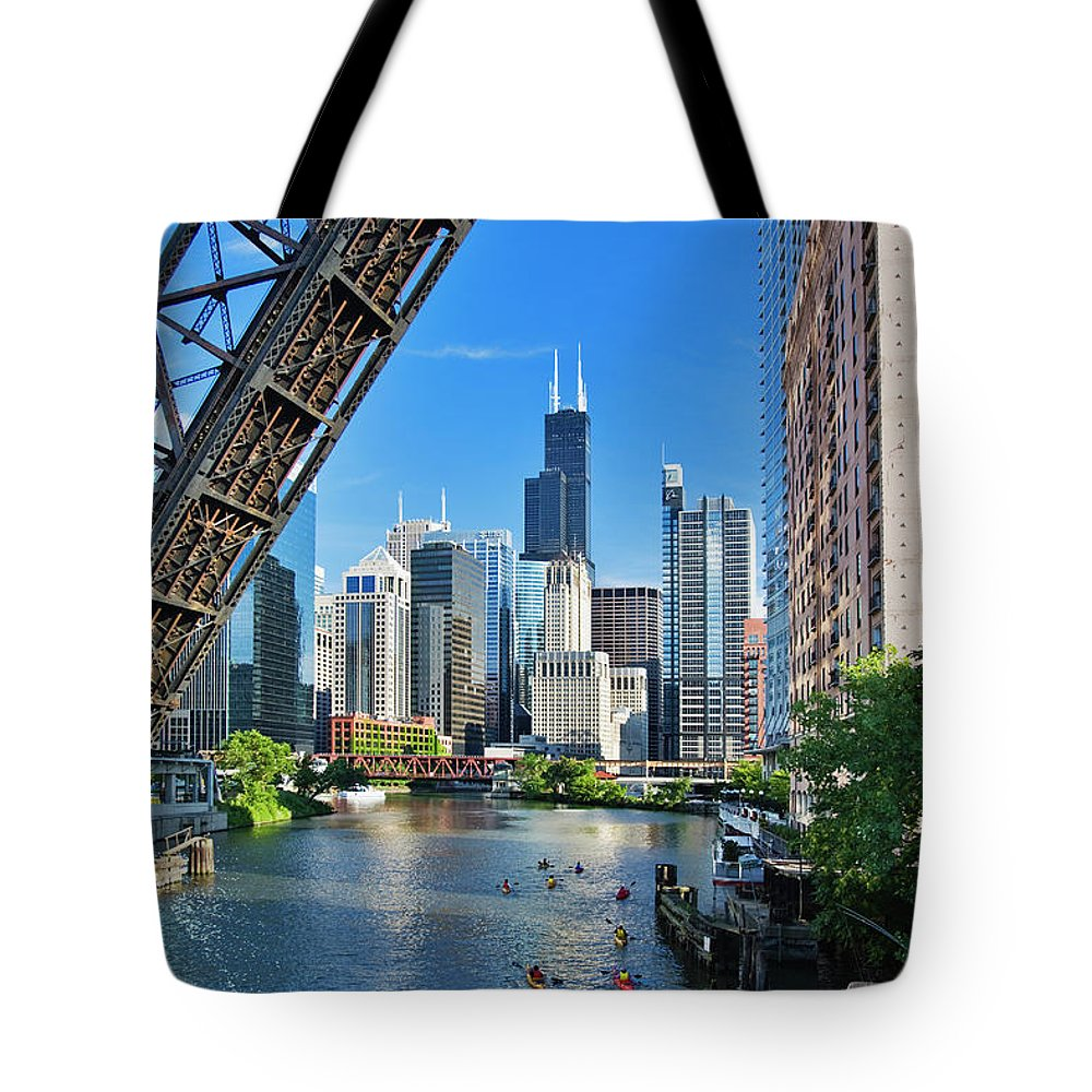 Chicago River Tote Bag featuring the photograph Chicago, Il by Adam Jones
