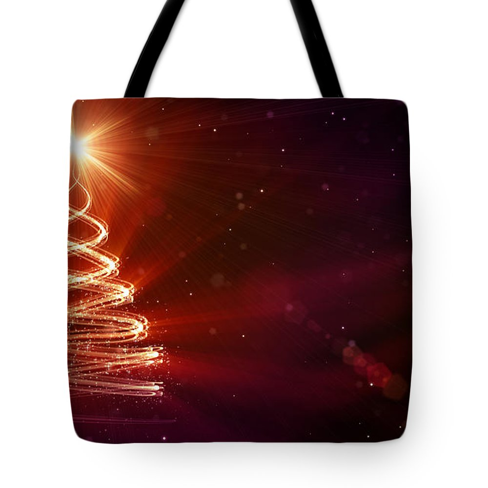 Particle Tote Bag featuring the digital art Christmas Background by Da-kuk