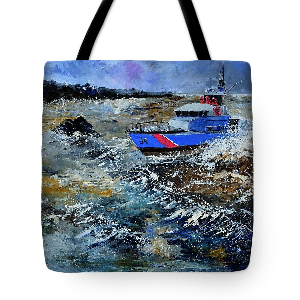 Seascape Tote Bag featuring the painting Coastguards by Pol Ledent