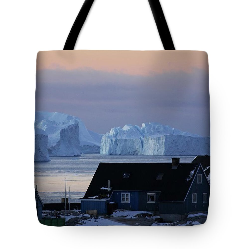 Iceberg Tote Bag featuring the photograph Colourful Houses And Blue Icebergs In by Timothy Allen
