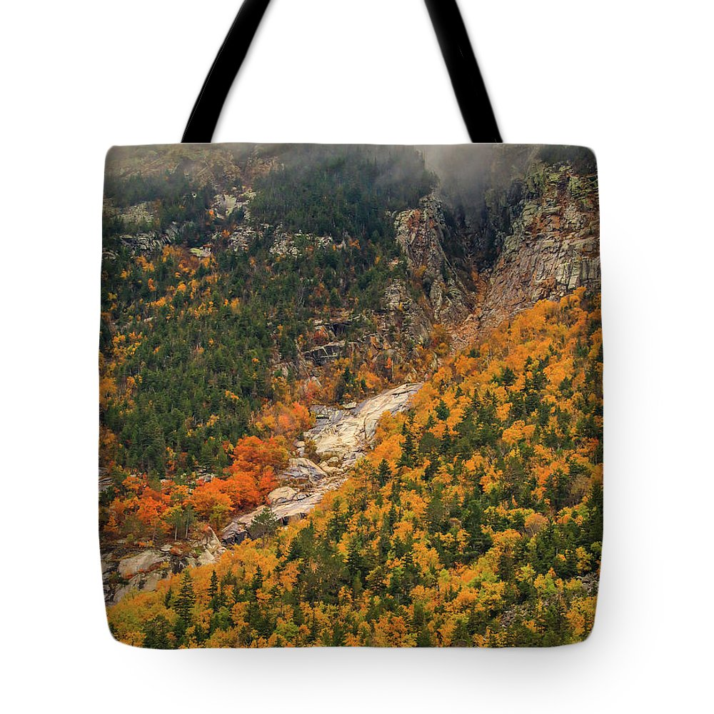 Autumn Colors At Crawford Notch Tote Bag featuring the photograph Crawford Notch Fall Foliage by Dan Sproul