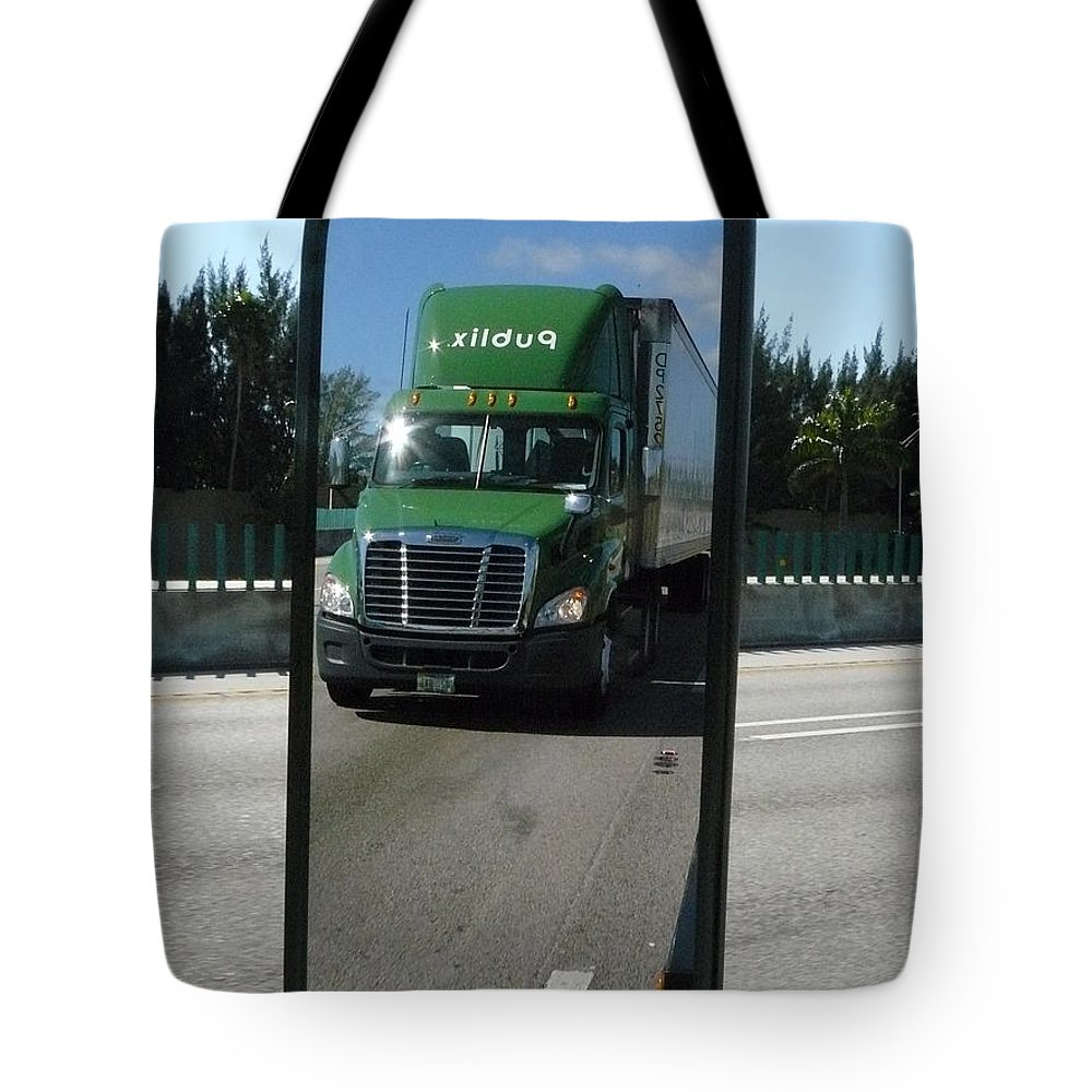 Green Truck In Mirror Tote Bag featuring the photograph Green Freightliner Publix by Michael Neil