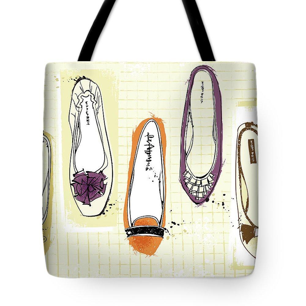 Purple Tote Bag featuring the digital art Feminine Shoes by Eastnine Inc.