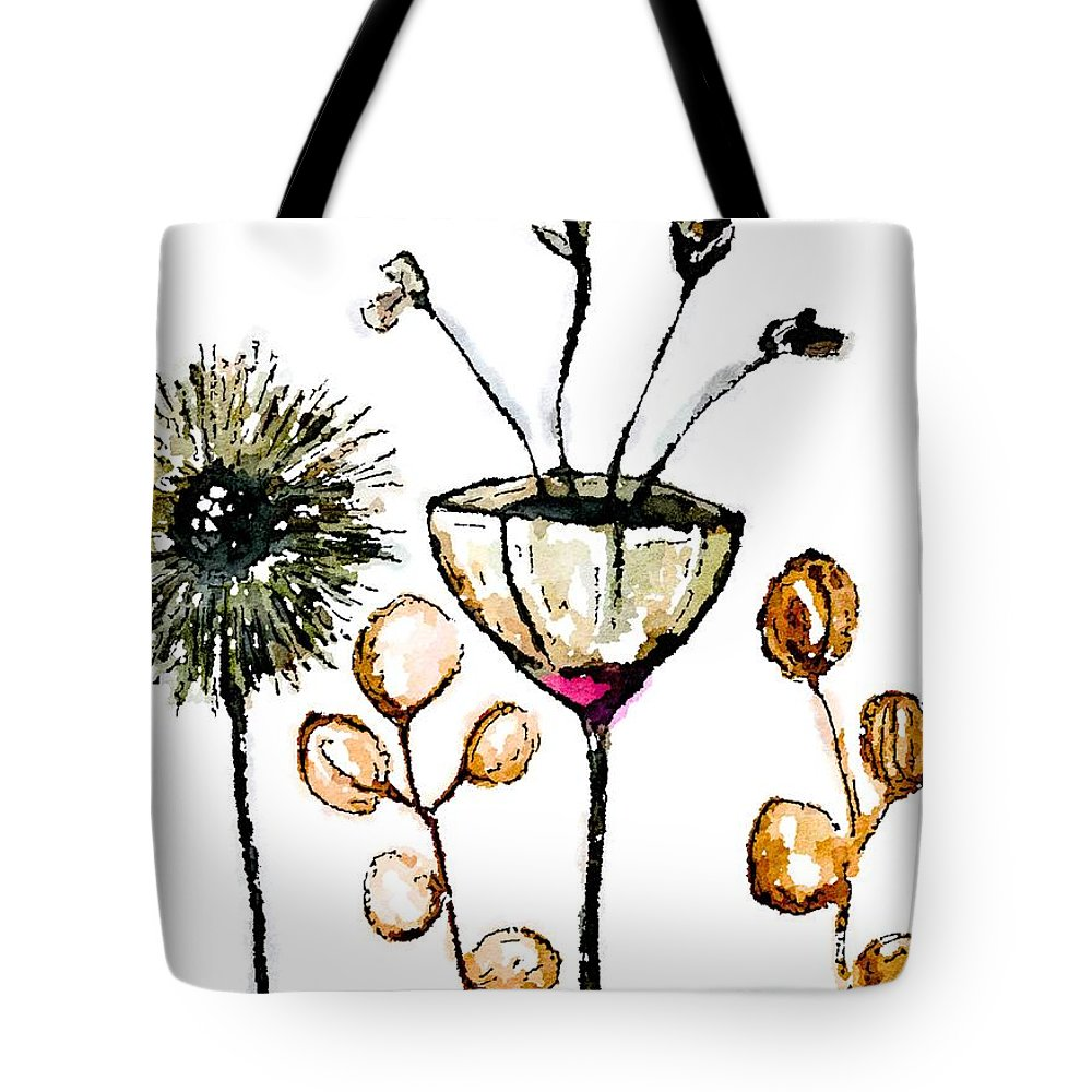 Flora Tote Bag featuring the mixed media Flora by Vanessa Katz