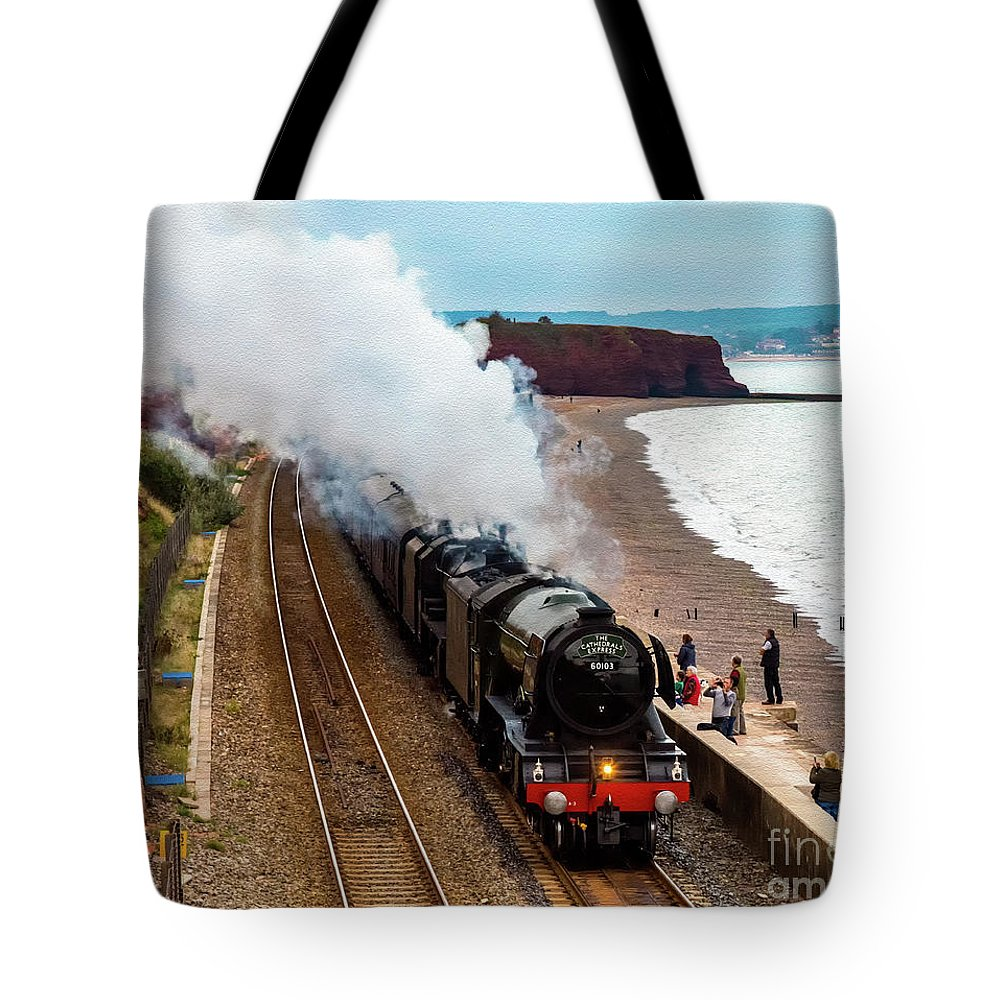 Black 5 Tote Bag featuring the photograph Flying Scotsman On An Evening Run by Paul Martin