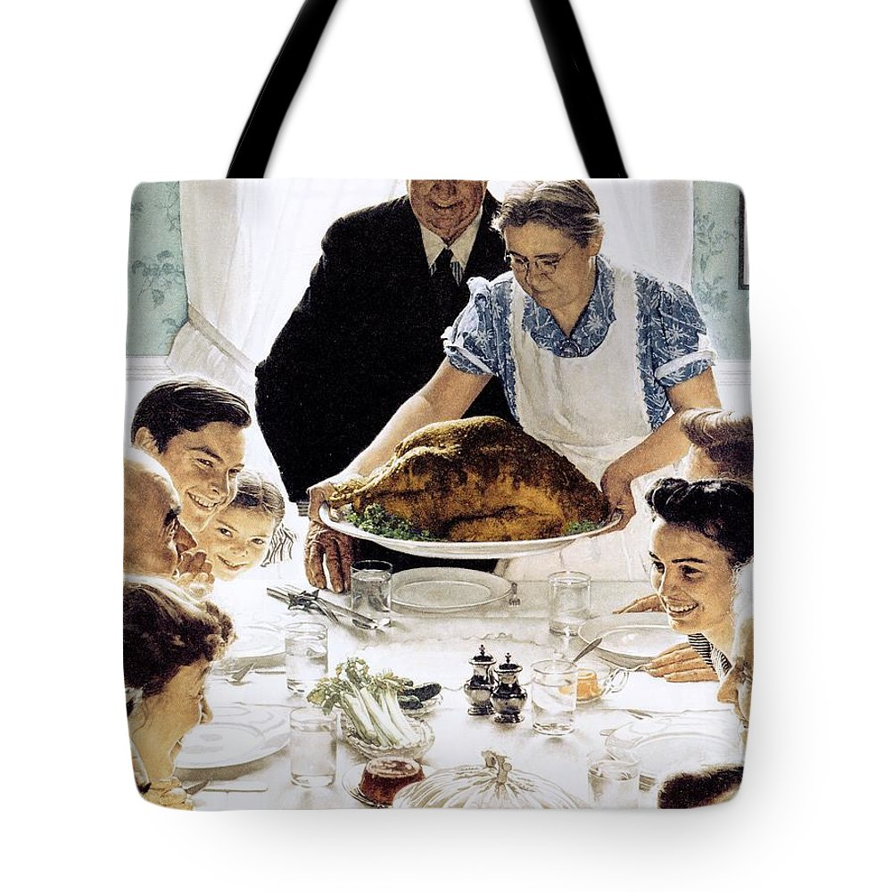 Family Tote Bag featuring the drawing Freedom From Want 1 by Norman Rockwell