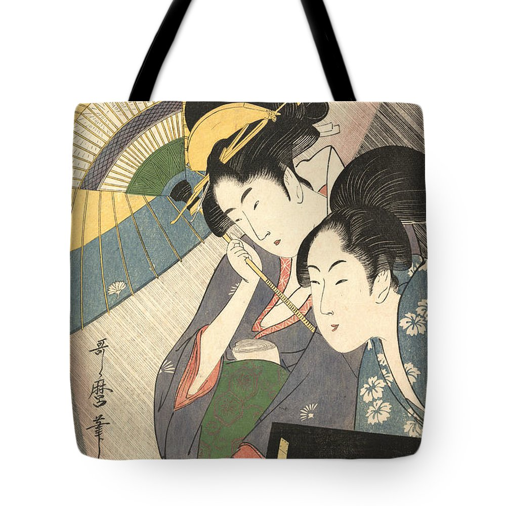 19th Century Art Tote Bag featuring the relief Geisha And Attendant On A Rainy Night by Kitagawa Utamaro