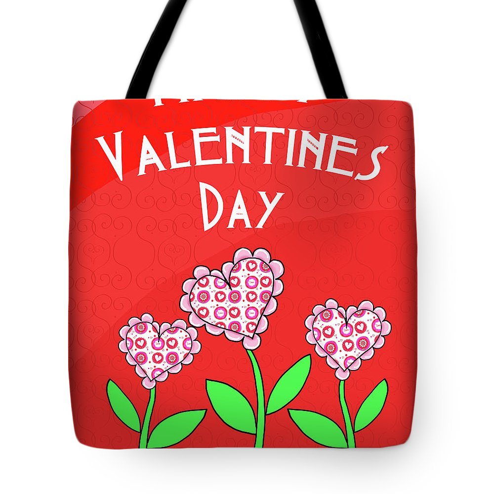 Happy Tote Bag featuring the mixed media Happy Valentines Day Flowers by Andi Metz