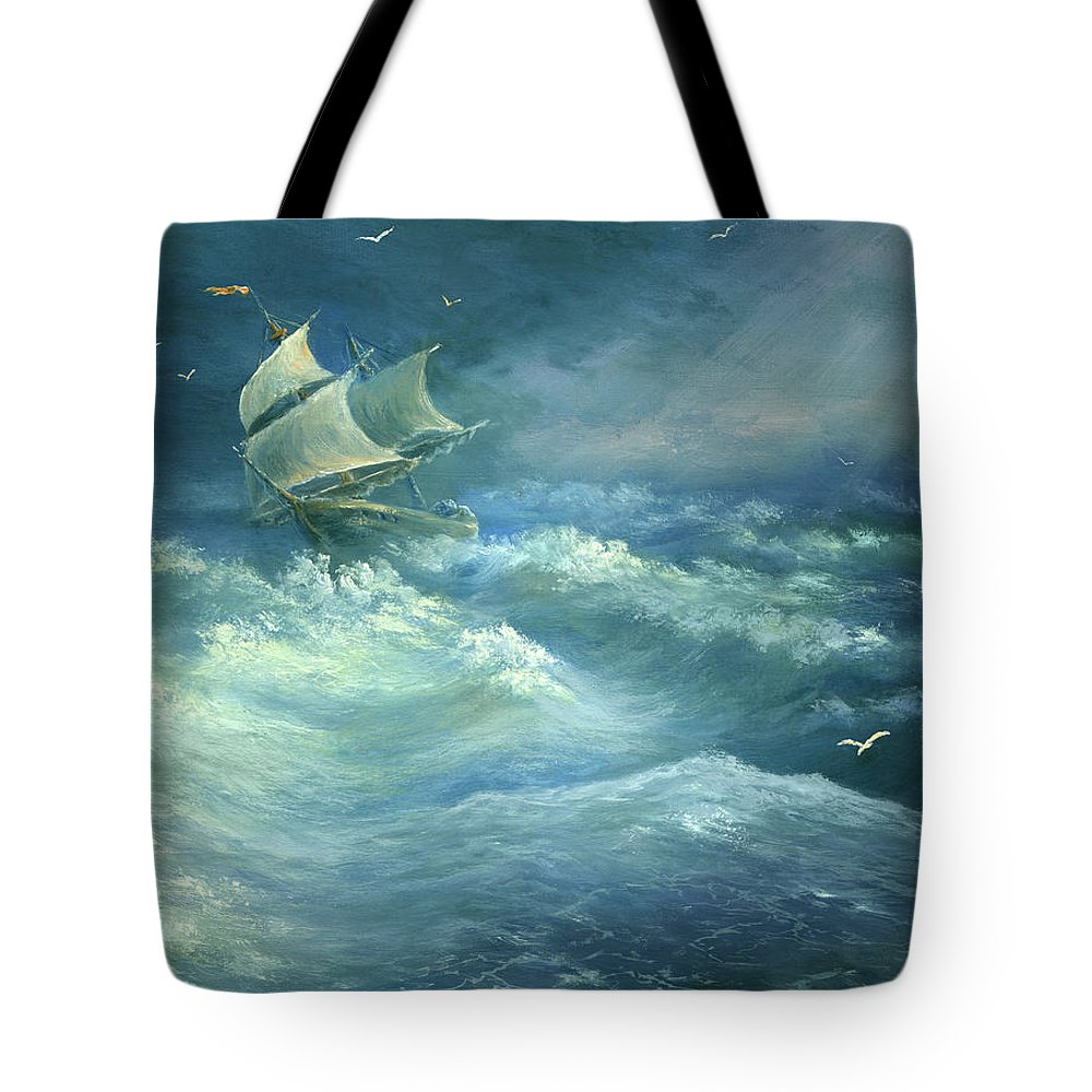Curve Tote Bag featuring the digital art Heavy Gale by Pobytov