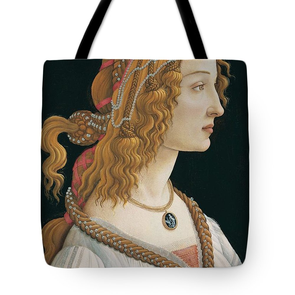 Sandro Botticelli Tote Bag featuring the painting Portrait Of A Young Woman, Portrait Of Simonetta Vespucci As Nymph by Sandro Botticelli