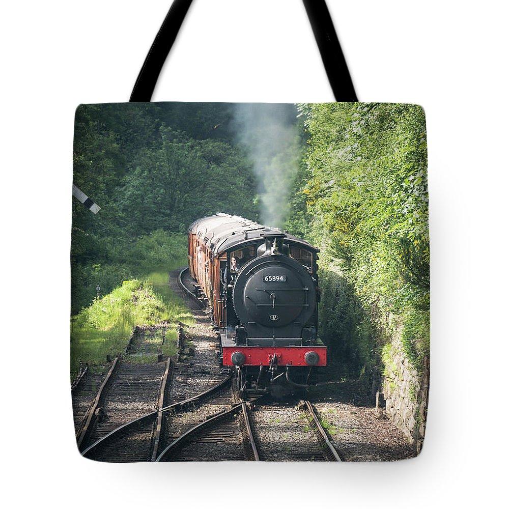 65894 Tote Bag featuring the photograph J27 Locomotive 65894 On North York Moors Railway by Simon Pocklington