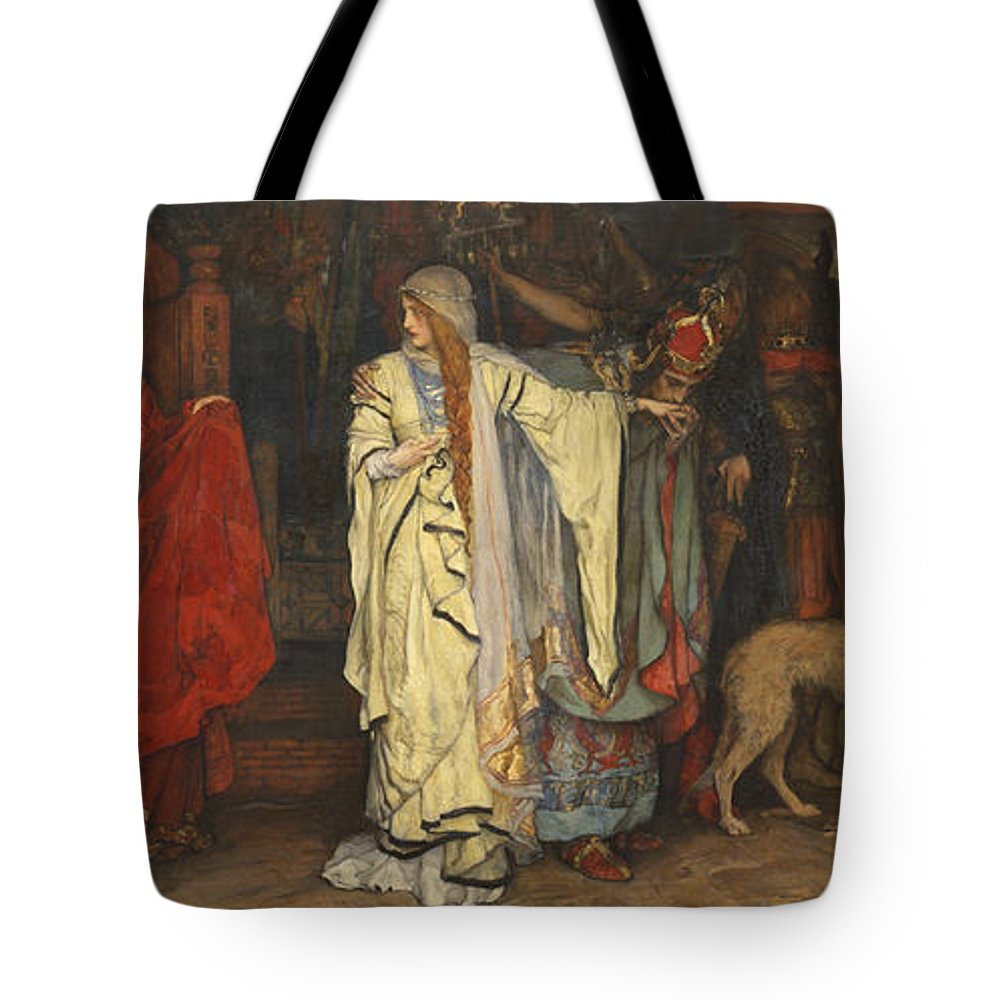 Edwin Austin Abbey Tote Bag featuring the painting King Lear Act I Scene I by Edwin Austin Abbey