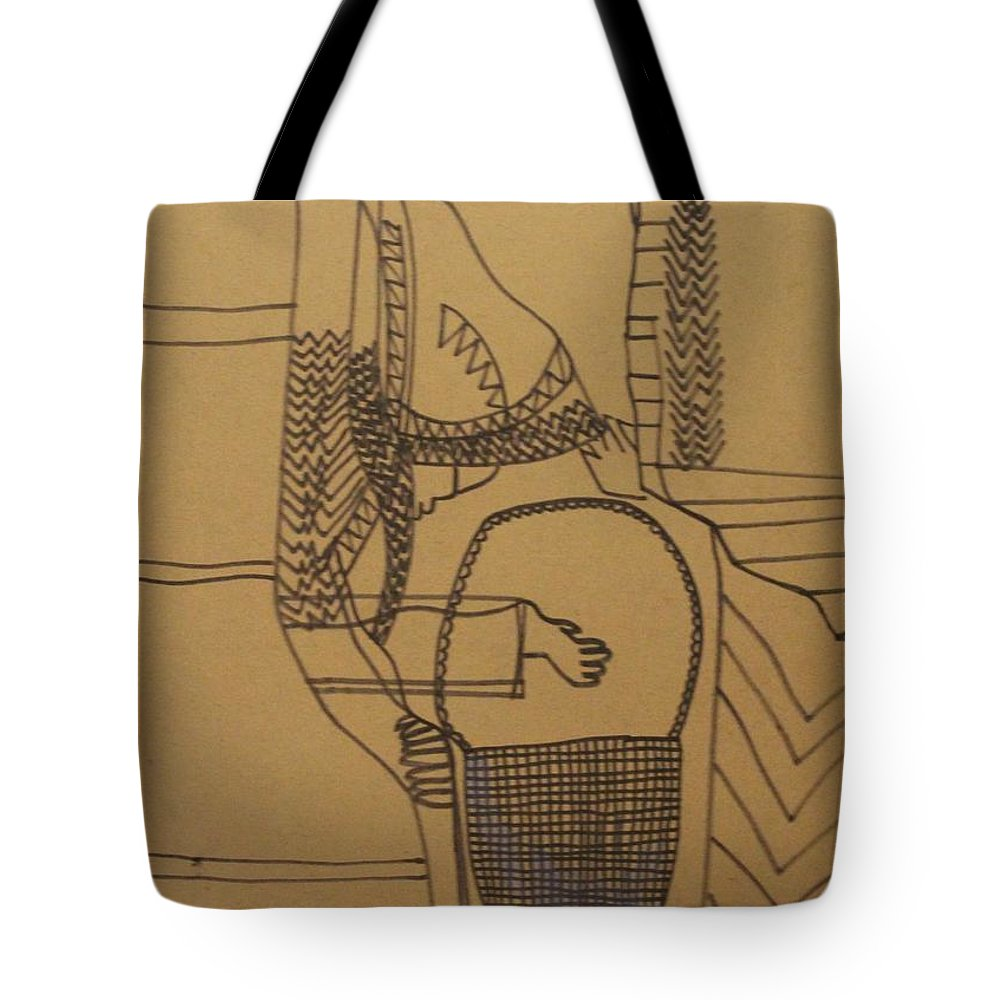 Jesus Tote Bag featuring the painting Kintus Tasks by Gloria Ssali