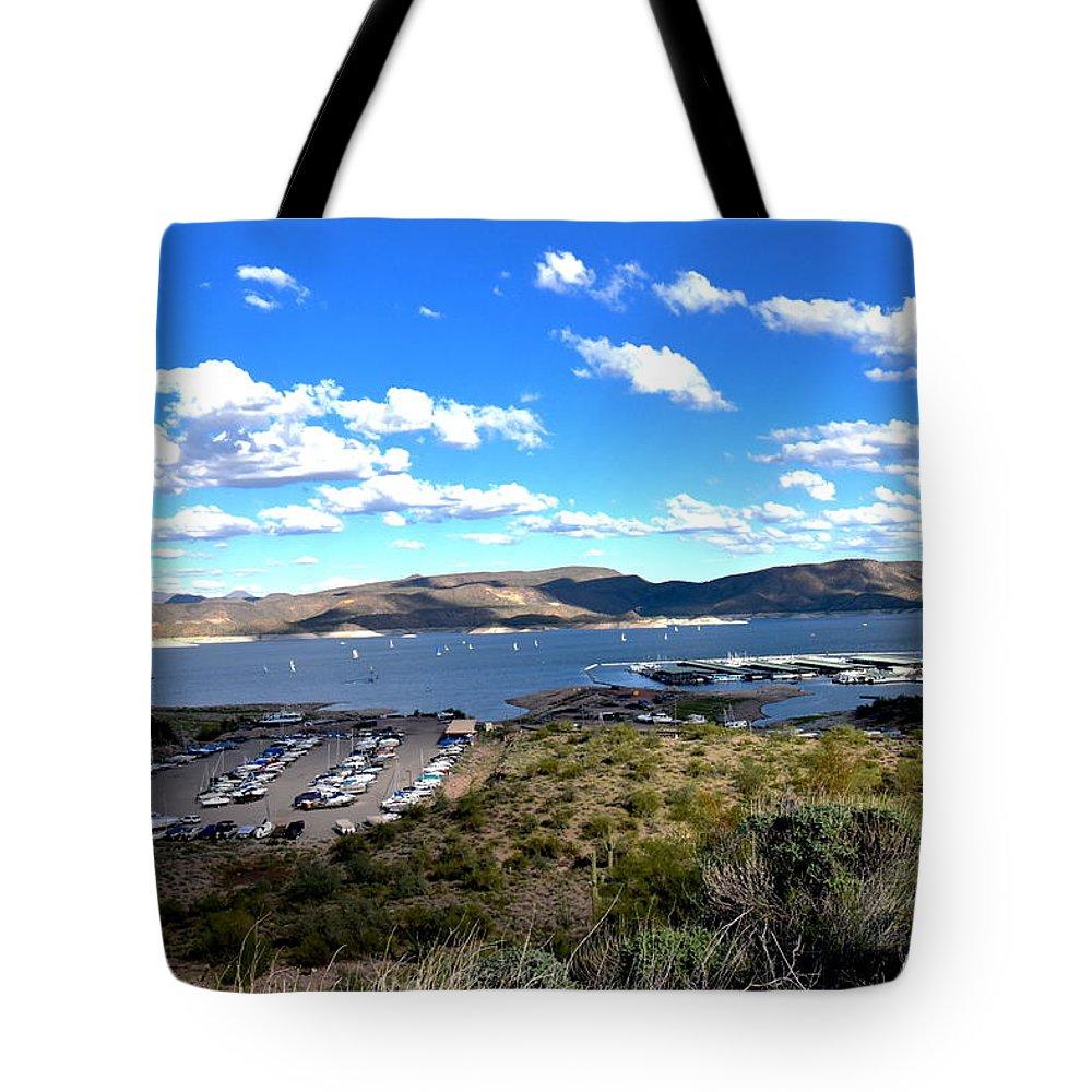 Lake Boat Boating Saguaro Cactus Tote Bag featuring the photograph Lake Pleasant Az 16 by George Arthur Lareau