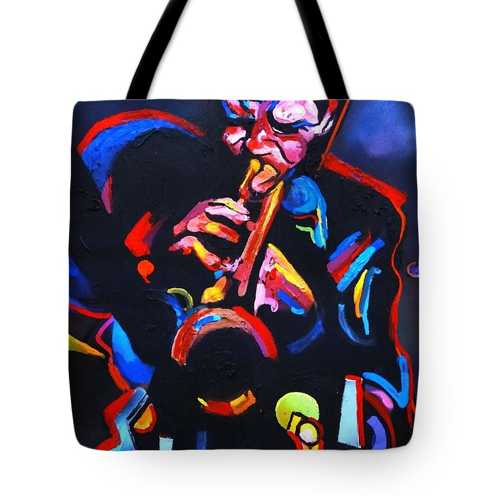 Chet Baker Tote Bag featuring the painting Life Back in Blue - Chet Baker by Eric Dee