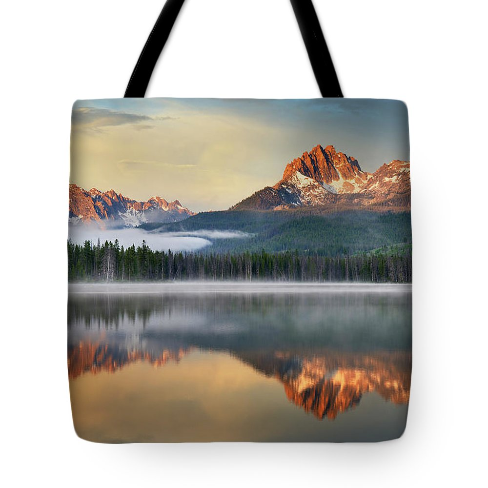 Scenics Tote Bag featuring the photograph Little Redfish Lake, Sawtooth Mountains by Alan Majchrowicz