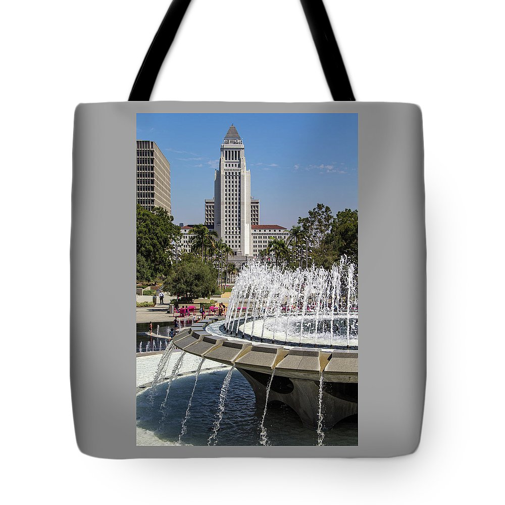 Arthur J. Will Tote Bag featuring the photograph Los Angeles City Hall And Arthur J. Will Memorial Fountain by Roslyn Wilkins