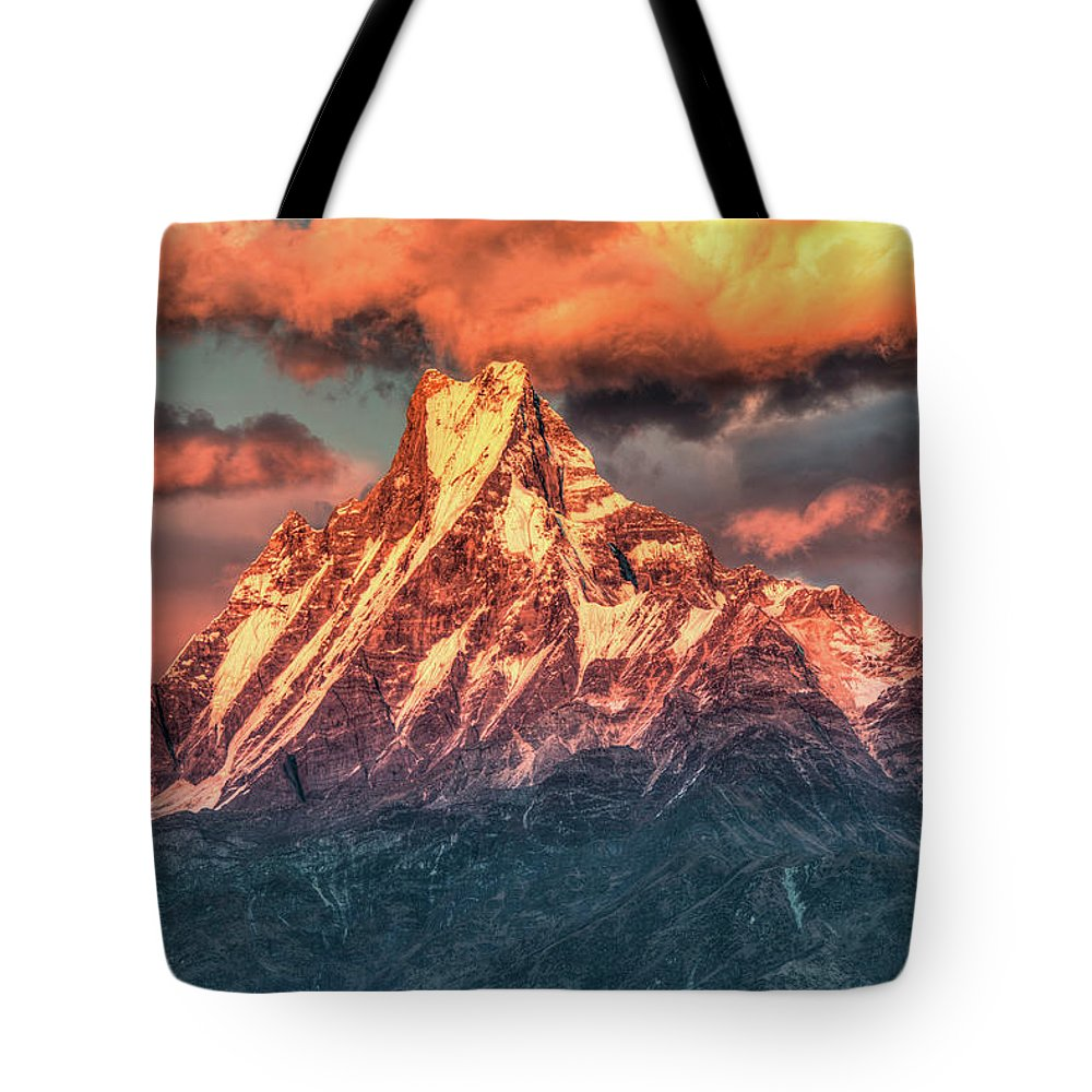 Tranquility Tote Bag featuring the photograph Machapuchare Mountain, Fish Tail In by Emad Aljumah