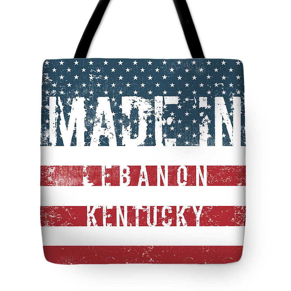 Lebanon Tote Bag featuring the digital art Made In Lebanon, Kentucky by Tinto Designs