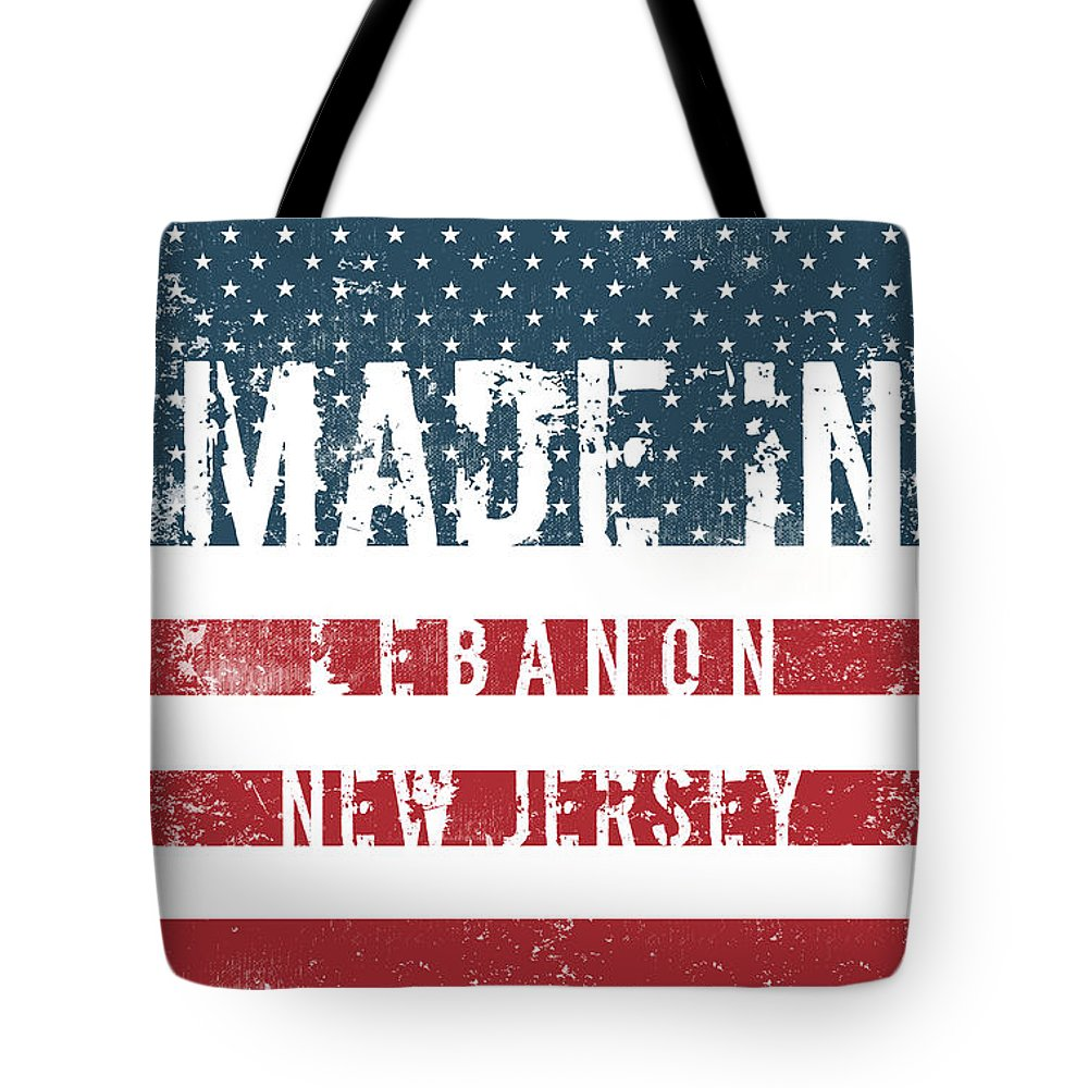 Lebanon Tote Bag featuring the digital art Made In Lebanon, New Jersey by Tinto Designs