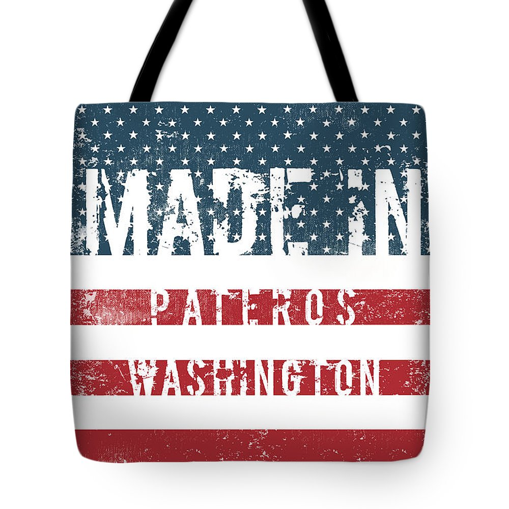Pateros Tote Bag featuring the digital art Made In Pateros, Washington by Tinto Designs