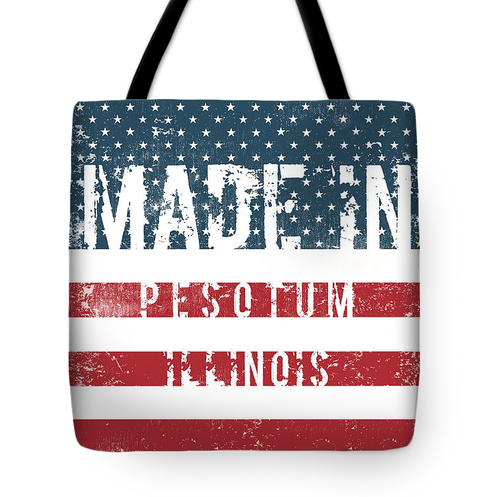Pesotum Tote Bag featuring the digital art Made In Pesotum, Illinois by Tinto Designs