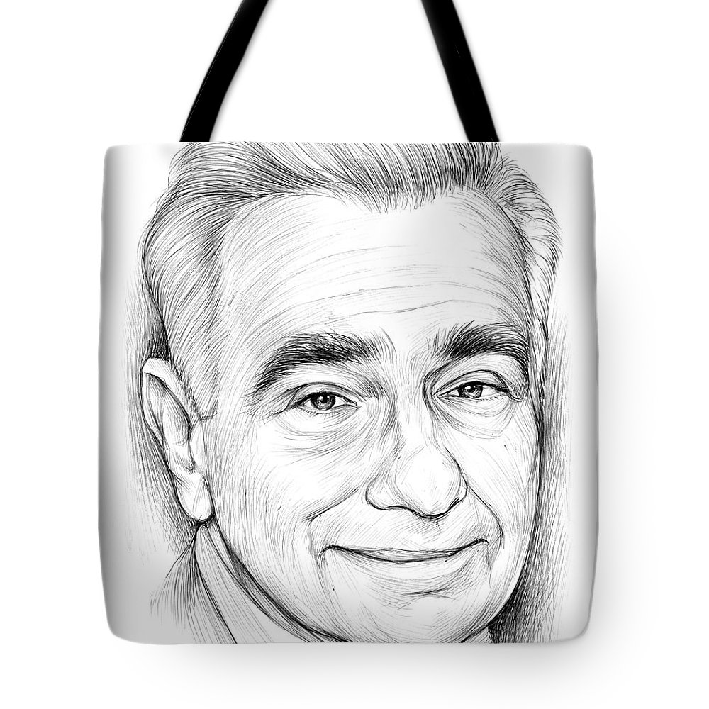 Bic Pen Tote Bag featuring the drawing Martin Scorsese by Greg Joens