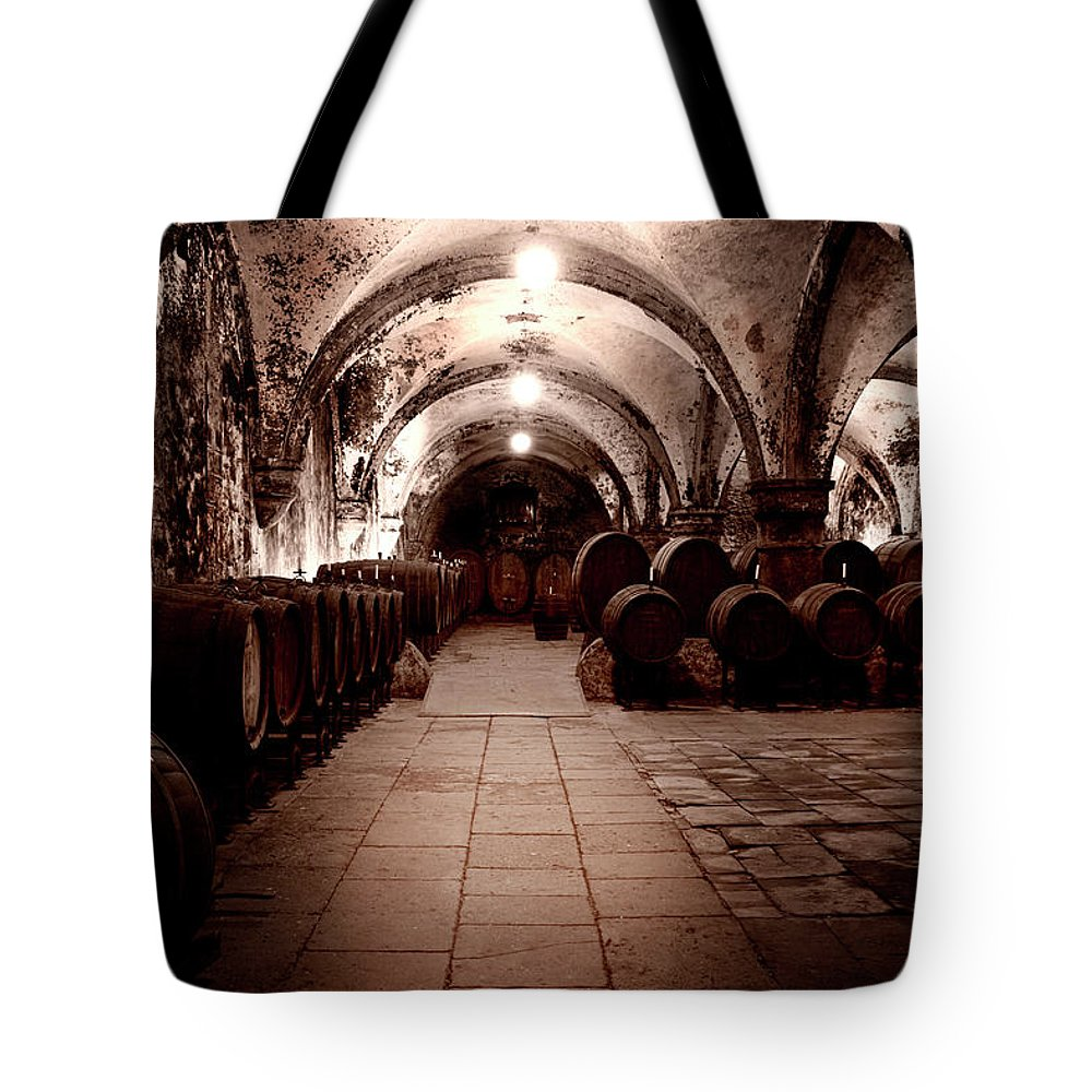 Arch Tote Bag featuring the photograph Medieval Wine Cellar by Ollo