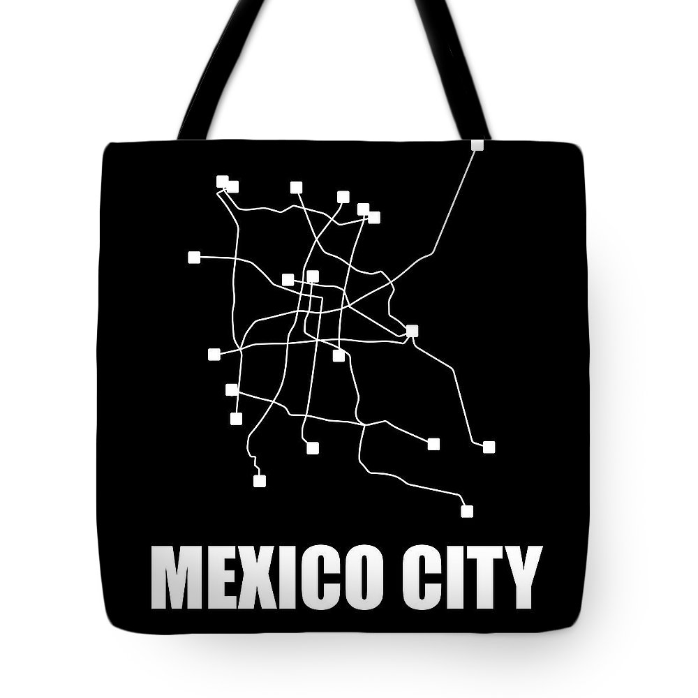 Mexico City Tote Bag featuring the digital art Mexico City Black Subway Map 1 by Naxart Studio