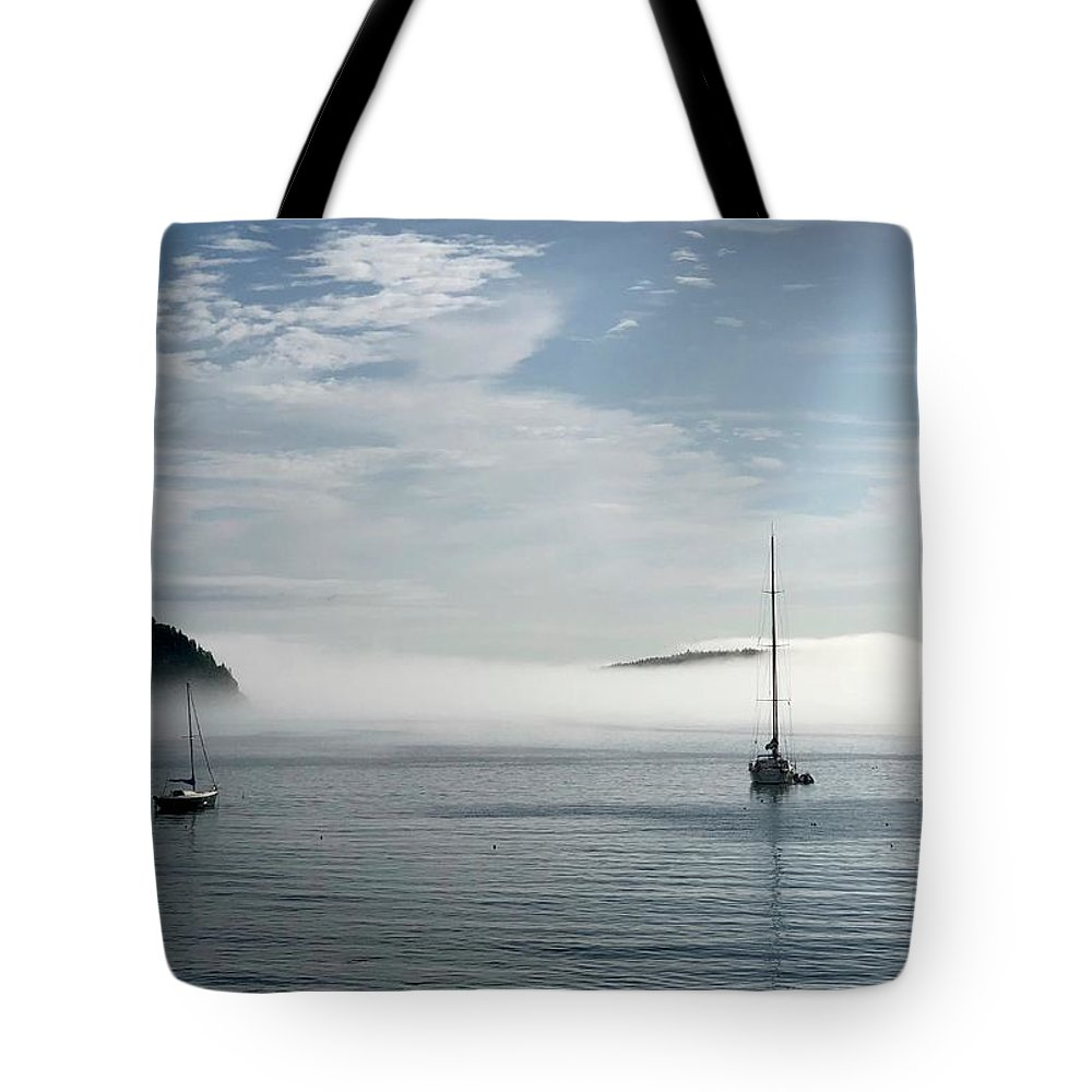 Seascape Tote Bag featuring the photograph Morning Mist On Frenchman's Bay by Dick Goodman