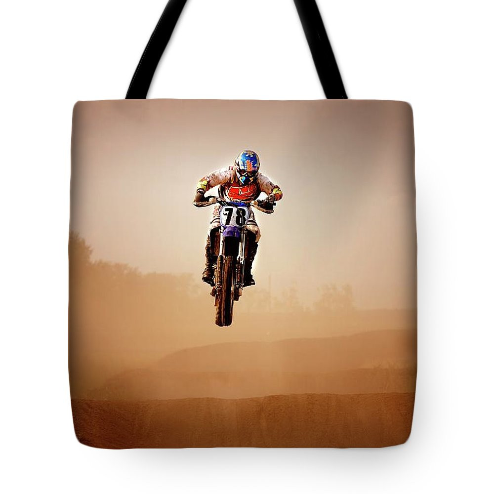 Crash Helmet Tote Bag featuring the photograph Motocross Rider by Design Pics
