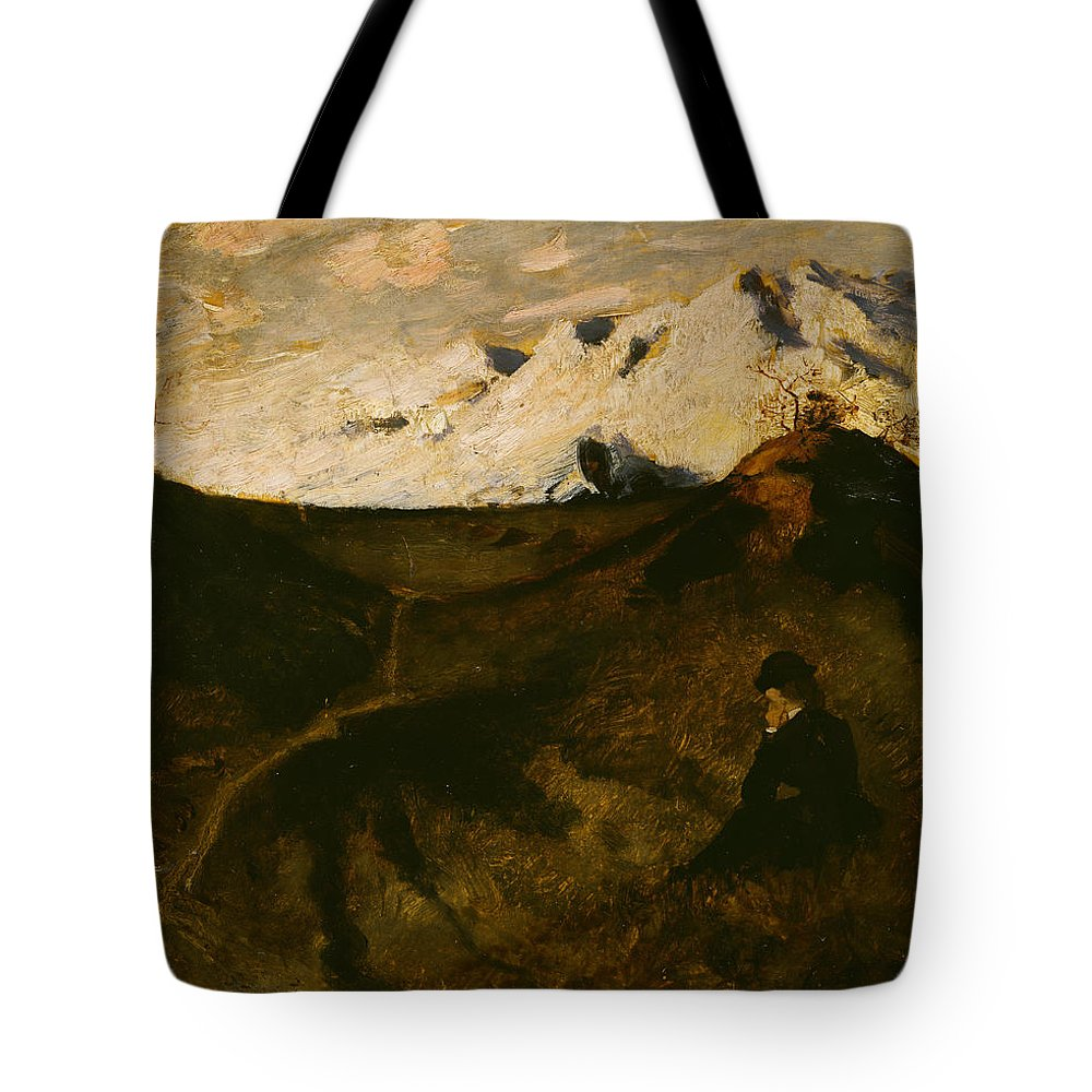 Eilif Peterssen Tote Bag featuring the painting Mountains Near Innsbruck by Eilif Peterssen
