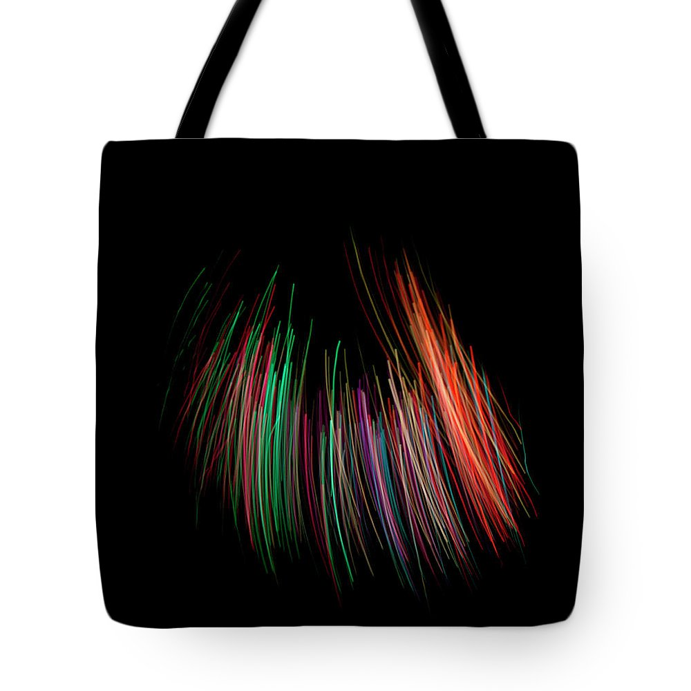 Black Background Tote Bag featuring the photograph Multi Colored Fiber Optic On Black by Michael Duva