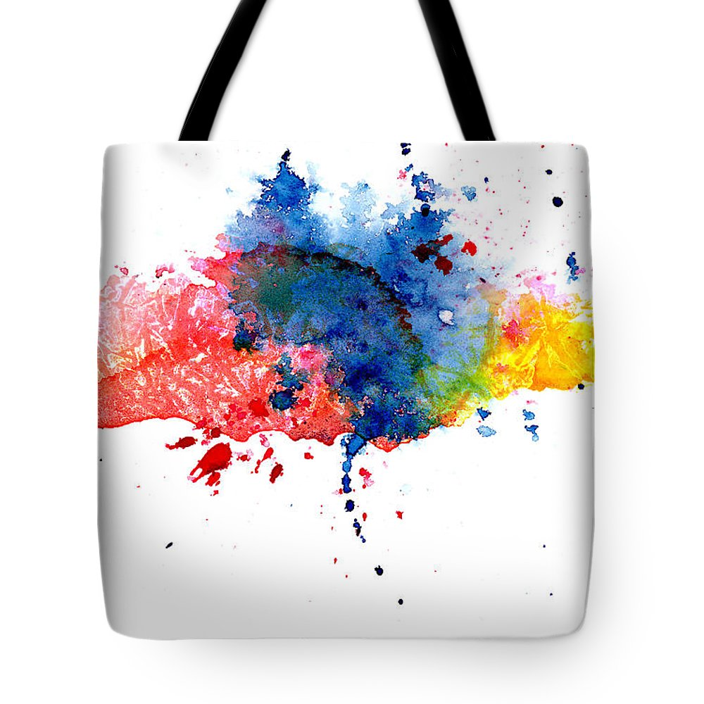 Watercolor Painting Tote Bag featuring the photograph Multicolored Splashes by Alenchi